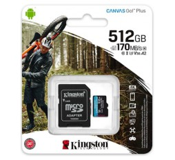 Slika izdelka: SDXC KINGSTON MICRO 512GB CANVAS SELECT Plus, 100/85MB/s (r/w), C10 UHS-I, adapter
